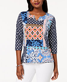 Alfred Dunner Petite Mixed-Print Top