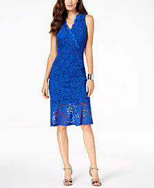 Thalia Sodi Lace Flounce-Hem Dress, Created for Macy's