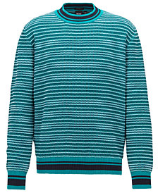 BOSS Men's Textured Striped Cotton Sweater