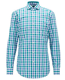 BOSS Men's Slim-Fit Checked Cotton Shirt