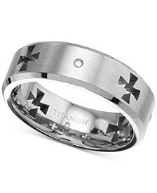 Men's Diamond Accent Cross Cutout Band in Titanium