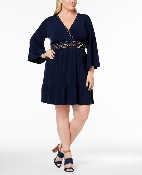 Michael Kors Plus Size Studded V Neck Dress Dresses Plus Sizes