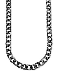 "Men's Large Decorative Curb Link 24"" Necklace in Stainless Steel & Black Ion-Plate"