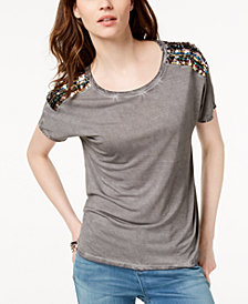 I.N.C. Crew-Neck Sequin-Embellished T-Shirt, Created for Macy's