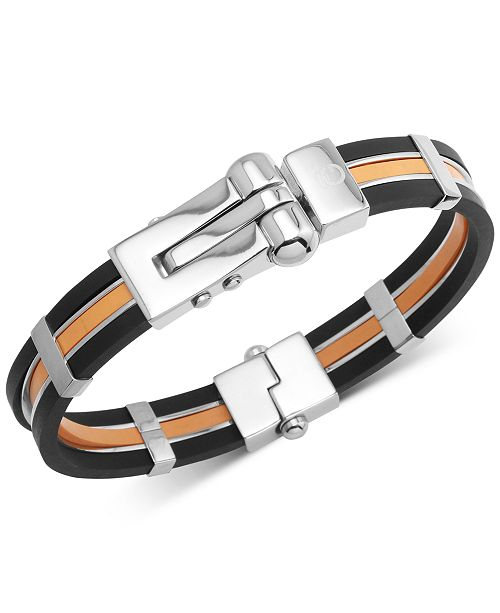 Macy's Men's Orange & Black Vulcanized Rubber Bracelet in Stainless Steel