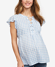Motherhood Maternity Flutter-Sleeve Babydoll Blouse