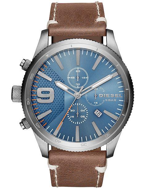 Diesel Men's Chronograph Rasp Brown Leather Strap Watch 50x59mm
