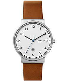 Skagen Men's Ancher Cognac Leather Strap Watch 40mm