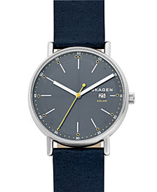 Skagen Mens Signatur Solar Blue Leather Watch SKW6451