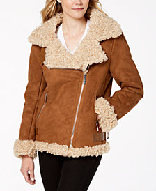 MICHAEL Michael Kors Faux-Fur-Lined Moto Coat