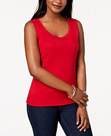 Karen Scott Cotton Studded-Neck Shell, Created for Macy's