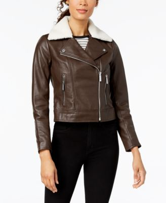 Faux-Shearling-Collar Leather Moto Jacket