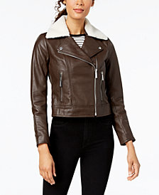 MICHAEL Michael Kors Faux-Shearling-Collar Leather Moto Jacket