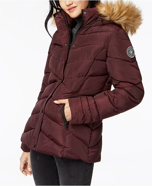 6c312c69c57 Madden Girl Juniors' Faux-Fur-Trim Puffer Coat & Reviews - Coats ...