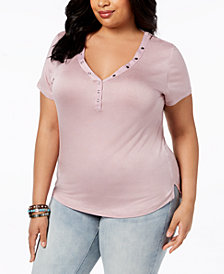 ABASIX Trendy Plus Size Snap-Neck Top