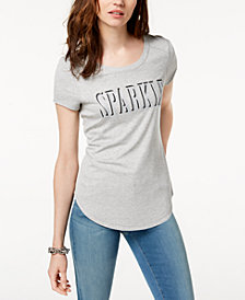 I.N.C. Ribbed Glitter-Graphic T-Shirt, Created for Macy's