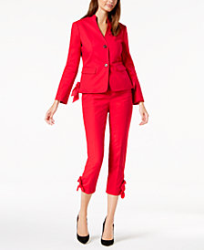 Nine West Bow-Trim Jacket & Straight-Leg Pants