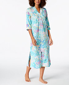Miss Elaine Cotton Printed Long Zip Robe