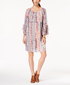 Style & Co Printed Bell-Sleeve Peasant Dress, Created for Macy's