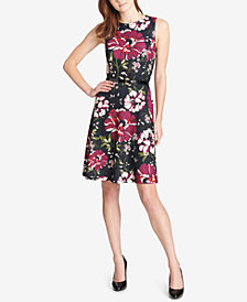 Tommy Hilfiger Belted Folk Floral Scuba Crepe Dress