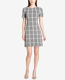 Windowpane Plaid Shift Dress