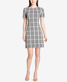 Tommy Hilfiger Windowpane Plaid Shift Dress