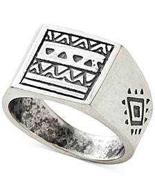 Men's Aztec Pattern Ring in Sterling Silver