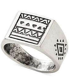 DEGS & SAL Men's Aztec Pattern Ring in Sterling Silver