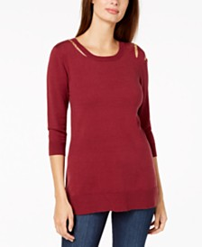 Love Scarlett Petite Cold-Shoulder Sweater