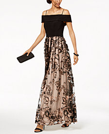 Nightway Petite Off-The-Shoulder Embroidered Gown