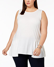 Joseph A Plus Size Pleated Peplum-Hem Tank