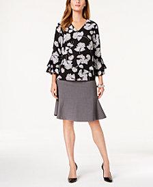 Nine West Printed Tiered-Sleeve Top & Flare-Hem Skirt