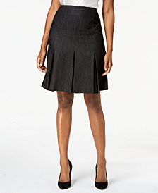 Kasper Dot-Print Pleated-Hem Skirt, Regular & Petite Sizes