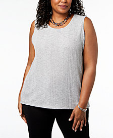 Kasper Plus Size Textured Tank Top