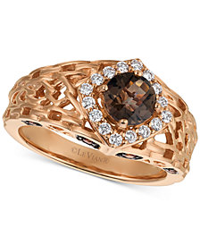 Le Vian® Chocolate Quartz® (5/8 ct. t.w.) & Diamond (1/3 ct. t.w.) Ring in 14k Rose Gold