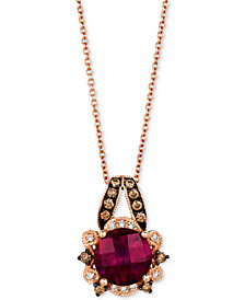 "Le Vian® Raspberry Rhodolite® (1-3/4 ct. t.w.) & Diamond (1/5 ct. t.w.) 18"" Pendant Necklace in 14k Rose Gold"