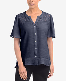 NY Collection Lace-Yoke Split-Neck Blouse