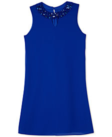 BCX Big Girls Embellished-Neck Shift Dress