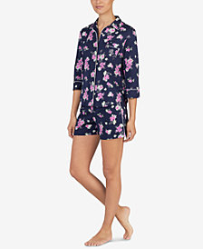 Lauren Ralph Lauren Embroidered-Pocket Floral-Print Pajama Set