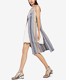 BCBGeneration Mixed-Media Variegated Striped Long Vest