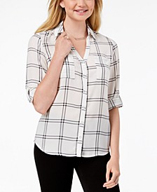 Juniors' Roll-Tab-Sleeve Printed Shirt