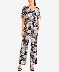 NY Collection Floral-Print Tie-Front Jumpsuit