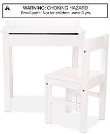 Wooden Lift-Top Desk & Chair - White