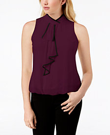 BCX Juniors' Piped Ascot Bubble Blouse