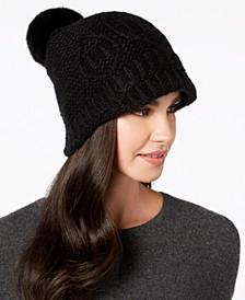 Rabbit-Fur Pom Pom Knit Hat