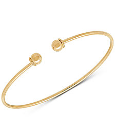 Polished Ball Wire Cuff Bracelet in 14k Gold