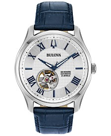 Bulova Men's Automatic Wilton Blue Leather Strap Watch 42mm