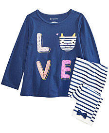 First Impressions Toddler Girls Graphic-Print Top & Striped Leggings Separates, Created for Macy's