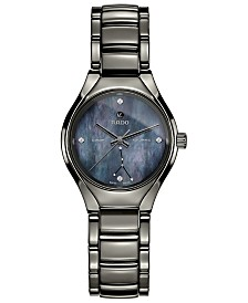 Rado Women's Swiss Automatic True Star Cancer Sign Diamond-Accent Plasma High-Tech Ceramic Bracelet Watch 30mm