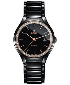 Women's Swiss Automatic True Diamond (1/4 ct. t.w.) Black High-Tech Ceramic Bracelet Watch 40mm